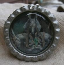 Egyptian God Anubis Necklace,round cap style,steel,ball chain -pagan,eygpt,wicca