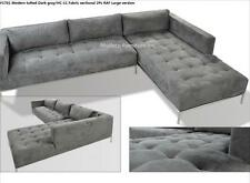 2PC Modern Dark Gray Fabric tufted Sectional Sofa #1701 (Large version)
