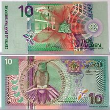 SURINAME billet neuf de 10 GULDEN Pick147 oiseau BLACK-THROATED MANGO 2000