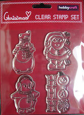 HO HO HO CHRISTMAS CLEAR STAMP SET - HOBBYCRAFT - 4 STAMPS - NEW & PACKAGED