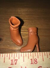 Barbie Brown Fashion Glam High Heels Tan Ankle Boots Cowboy Riding Shoes