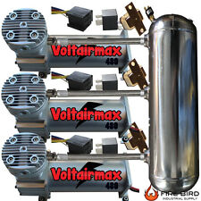 TRIPLE 200psi VoltAir 480 Silver Compressor 3Gl Stainless tank Airbag Suspension