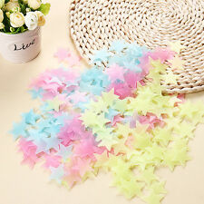 100 Pcs Home Glow In The Dark Star Stickers Wall Ceiling Decal Kids Baby Bedroom
