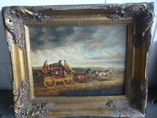 Antique/Old Landscape Horse Carriage Oil Painting on Board - Framed