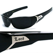 LOCS Biker Sports Gangsta Mens Designer Sunglasses - Shiny Black LC39