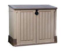 Keter Woodland PLASTIC SHED, Storage Sturdy Floor STORAGE SHED, Beige Brown