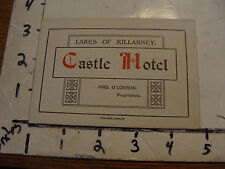 Early Travel paper: CASTEL HOTEL lakes of Killarney, thick card double sided