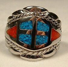 SOUTHWEST GENUINE TURQUOISE CORAL CHIP INLAY MENS RING SZ 11  R14