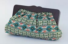 Big Buddha Wooden Framed Clutch Handbag with Printed Pattern NWT Color - Teal
