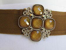 "New Women Hip Waist Elastic Brown Fashion Belt Beads Cross Buckle 30""-35"" S/M 75"