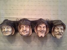 Unusual Antique Set of 4 French Gargoyle Heads Plaster Statue Misericord Monks