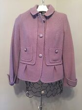 TALBOTS LILAC LAVENDER SHORT FITTED WOOL Tweed Dress Women's JACKET SZ 12P 12 Pe