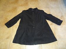 WOMENS SIZE 1X BLACK FLEECE LONG JACKET /COAT BY ROAMAN'S **NEW**