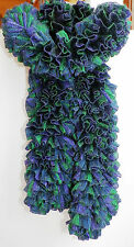 Handmade Knitted Frilly Ribbon Boa Scarf; Color: Grapevine