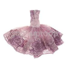 Embroidery Purple Lace Wedding Gown Dress Outfit For Silkstone Barbie Dolls