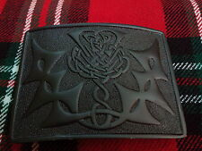 TC New Men's Kilt Belt Buckle Thistle Jet Black/Celtic Thistle Knot Belt Buckle