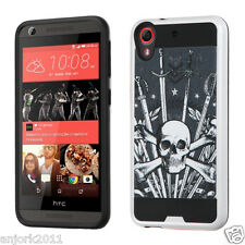SKULL BRUSHED TEXTURE HYBRID COVER HARD CASE FOR HTC DESIRE 626 / 626s / 530