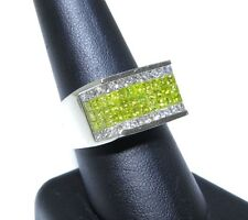 Mens 14k White Gold Princess Cut 5.00ct White & Canary Diamond Solid Ring
