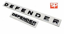 LAND ROVER DEFENDER FRONT + REAR GLOSS BLACK BADGES LETTERING 90 110 EMBLEMS KIT