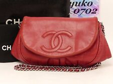 r57063 Auth CHANEL Red Lamb Skin WOC Chain Wallet Shoulder Bag Silver HW