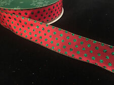 "50 Yards!  Christmas Dots Holiday  Wired Ribbon 1.5"" Wide Wholesale Lot Bulk"