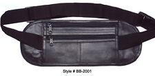 Black Leather Hidden Fanny Pack Safe Money belt Waist Bag Travel Super Thin Safe