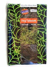 Halloween Tablecloth Green Spiderweb Vinyl With Polyester Back 52 X 70 inch