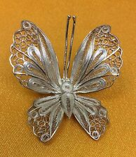 Vintage 925 Sterling Silver Filigree Butterfly Brooch Pin
