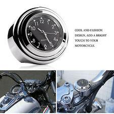"7/8"" 1"" Chrome Motorcycle Handlebar Mount Quartz Clock for Harley Davidson Honda"