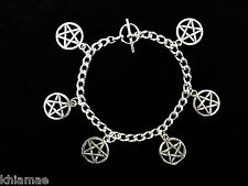 Wiccan 6 Charm Bracelet - pentacle pentagram pagan jewellery silver gift wicca