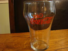 Medium Coke Coca-Cola  Clear Glass With Red Writing 1980's Is 5 Inches Tall