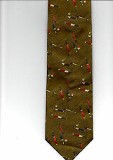 MOODYS NEW QUALITY 100% WOVEN SILK TIE TAUPE FISHING THEME FLOATS & LINES