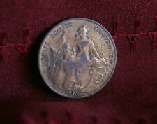 1915 France 5 Centimes Bronze World Coin KM842 Liberty Head five cents