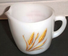 Fire King Anchor Hocking Golden Wheat Creamer Rosewood Dairy Algoma WI Vintage