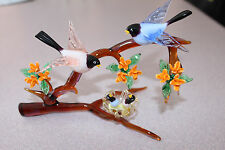 Vintage Murano Art Glass - Birds on Branch with Nest and Chicks! Adorable!!