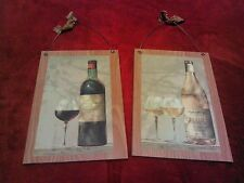 2 French Wine Pictures Italian Bottles Grapes Wall Hanging Decor Plaques Paris