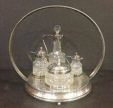 Unusual Antique Cruet Castor Set Heavy Cut Glass Silverplate Petite