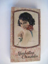 "Frederick Duncan Beauty on Vintage Pink Candy Box ""Manhattan Chocolates"" *"
