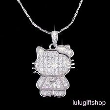 WHITE GOLD PLATED DIAMANTE HELLOKITTY CAT PENDANT NECKLACE USE SWAROVSKI CRYSTAL