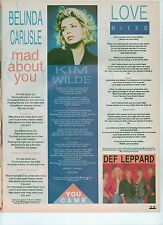 KIM WILDE You Came lyrics magazine PHOTO / Pin UP/Poster 11x8 inches