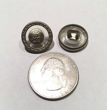 """One 2-Piece Versace Medusa Head Brushed Silver Clear Plastic Metal Button 5/8"""""""