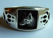 925 Sterling Silver Wolf Wolf Paw Ring Signed Navajo Size 11 3/4