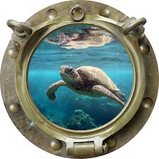 "12"" Porthole Sea Window View TURTLE #1 ANTIQUE Wall Decal Graphic Art Sticker"