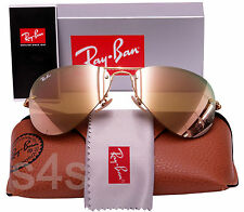 Ray Ban Rimless Aviator Sunglasses GOLD_BROWN_PINK MIRROR 3449 001/2Y Med 59mm