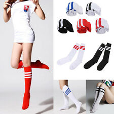 Hot Men Ladies Stripe Soccer Football Running Knee High Tube Socks Sports