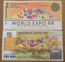 2 X World Expo 88 Banknotes. 2 & 5 Dollars. Australia's Bicentenary.