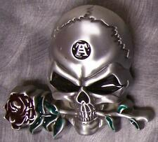 Pewter Belt Buckle novelty Skull Head and Rose NEW