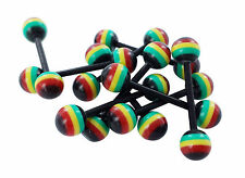 10 x Tongue bar body piercing JEWELLERY  BARS RASTA BARBELL FLEXI PLASTIC