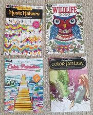 Lot Of 4 New Music, Travel, Animals & Fantasy Adult Coloring Books BN Grown Up