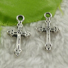 free ship 440 pieces tibet silver cross charms 21x11x2mm #4451